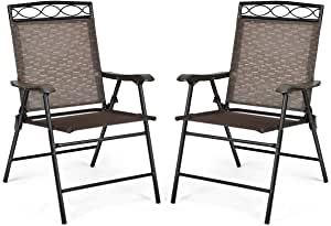 Giantex Set of 2 Patio Chairs, Outdoor Folding Lawn Chairs for Beach, Backyard, Deck, Patio Dining Chairs, Sling Chairs with Armrest and Metal Frame, Folding Camping Chairs (Brown)