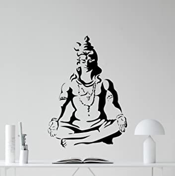 Shiva god wall decal indian gods vinyl sticker hinduism wall art indian religion yoga decor design
