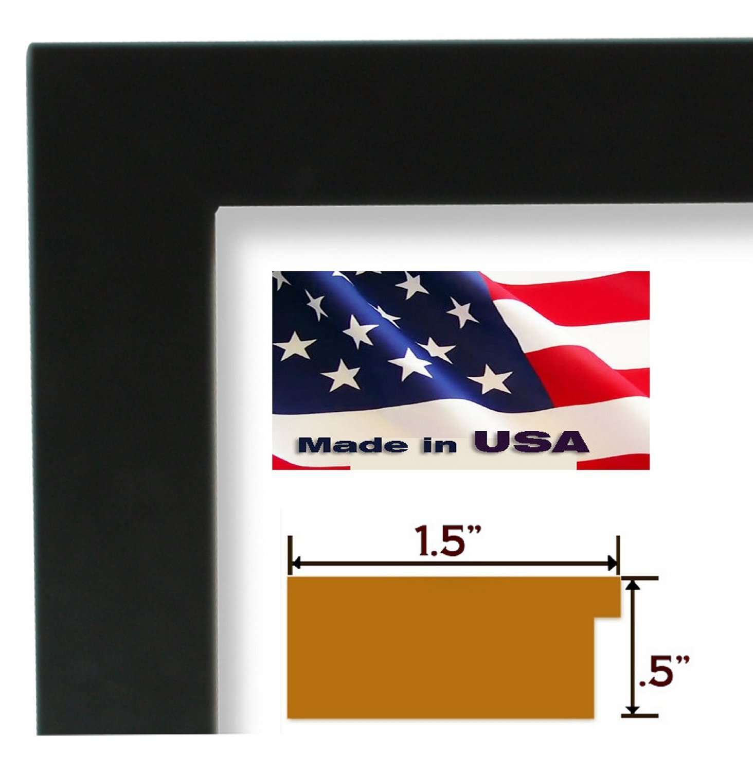 Amazon.com - 17x22 Custom 1.5 Inch Wide Black satin Flat Picture ...