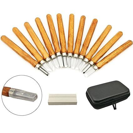 Smalluck - Juego de 12 cuchillos para tallar madera, acero al carbono y madera, para goma, calabaza pequeña, jabón, verduras y más para niños y ...