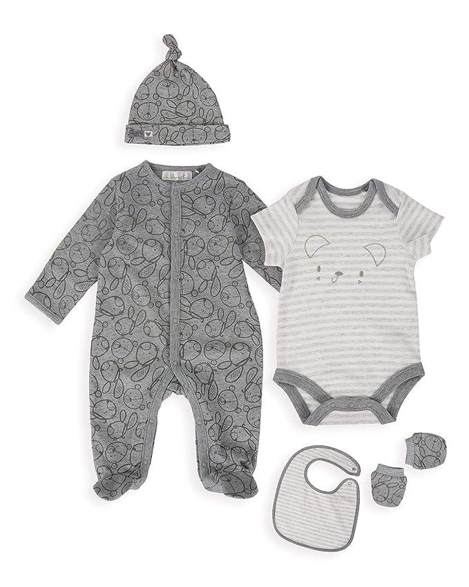 0a835d3e6 ... Pijama para bebé - Paquete de 3-9-12 meses. The Essential One - Bebé  Set de Inicio de Oso (5 Piezas) - Gris