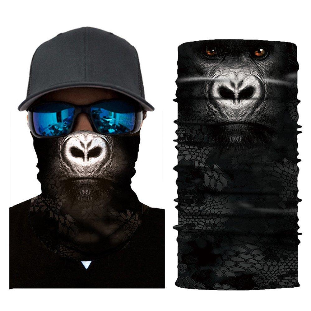 Glumes Face Mask Half Sun Dust Protection Vivid 3D Animal Tube Mask Seamless Durable Face Mask Bandana Skeleton Face Shield Motorcycle Fishing Hunting Cycling Halloween Party (I)