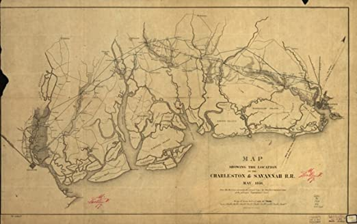 Amazon Com Map 1856 Showing The Location Of The Charleston Savannah R R May 1856 Of The South Carolina Tidewater Area Between Charleston And Savannah Ga The Red Line Represents The Located Line