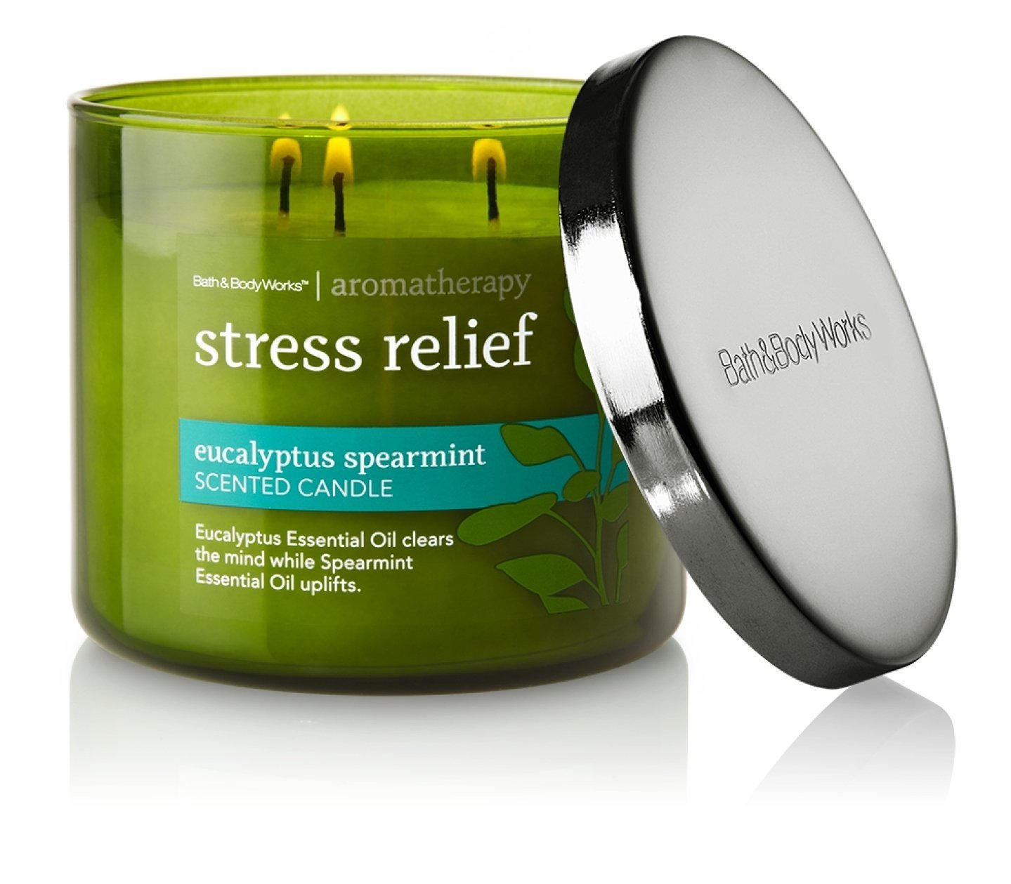 The fresh, minty fragrance of the Bath and Body Works Eucalyptus Spearming aromatherapy candle is sure to leave you relaxed, refreshed and rejuvenated.  The combination of the two fragrances will remind you of your favorite spa...without the steep spa price!