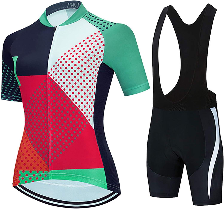 LSZ Conjunto De Ropa De Ciclismo para Mujer, Conjunto De Maillot De Ciclismo De Manga Corta De Verano, Camiseta De Bicicleta, Culotte con Tirantes, Acolchado De Gel 9D (Color : A, Talla : S)