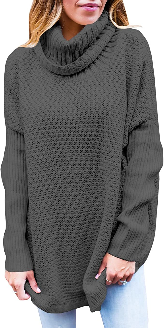 Womens Turtleneck Sweaters Oversized Long Sleeve Chunky Knit Tunic Plain Pullover Jumper Tops