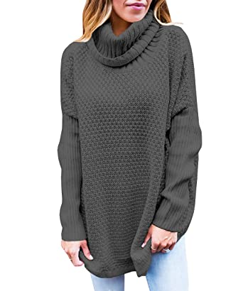 6765ee5412 VOKY Women Cowl Neck Knit Sweater Chunky Oversized Loose Sweater (XS