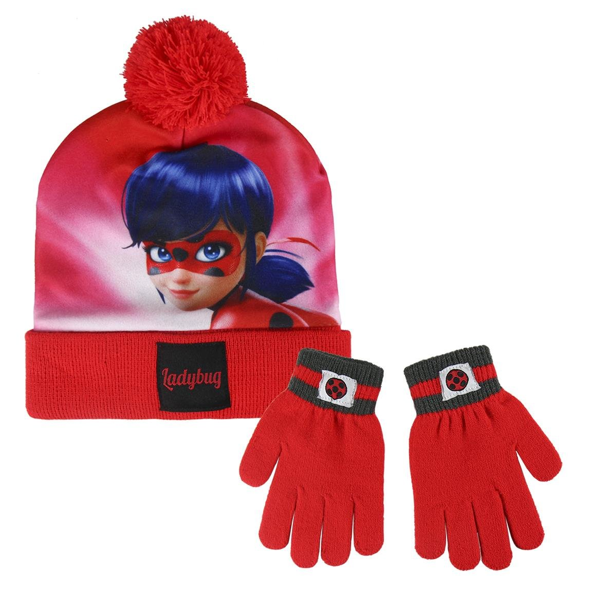 Miraculous Ladybug 2200002557 Children's Winter Set Includes Beanie Bobble Hat and Gloves, One Size Cerda