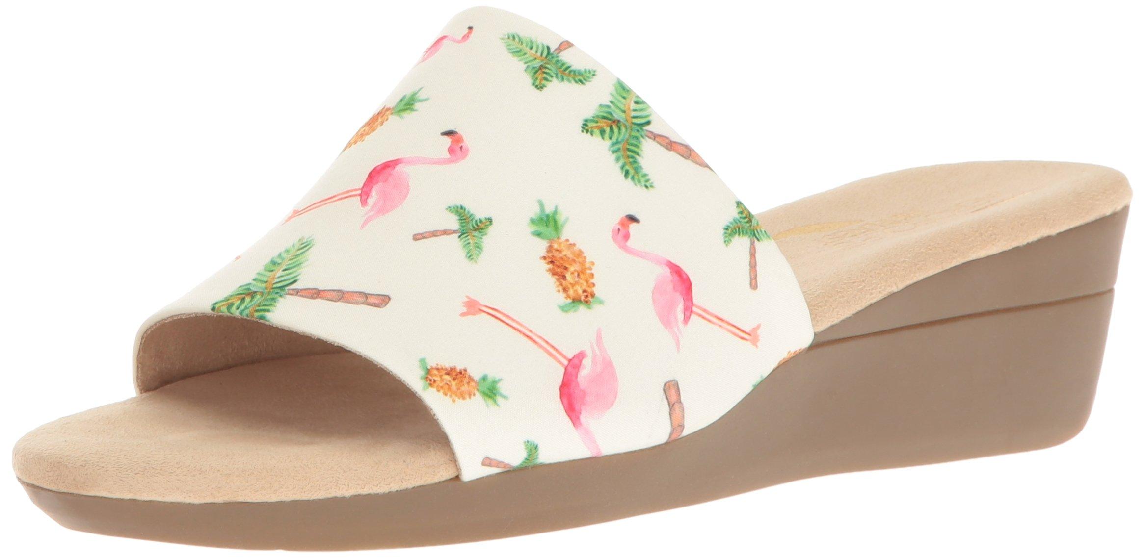 Aerosoles Women's Florida Wedge Sandal, Bone Combo, 11 M US