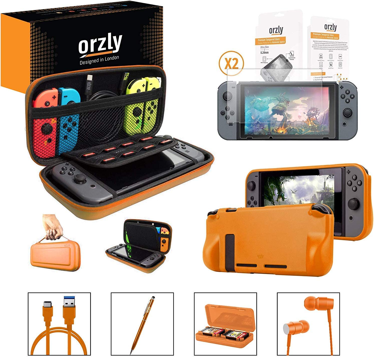 Orzly Switch Accessories Bundle – Orzly Carry Case for Nintendo Switch Console, Tempered Glass Screen Protectors, USB Charging Cable, Switch Games Case, Comfort Grip Case & Headphones [Orange]