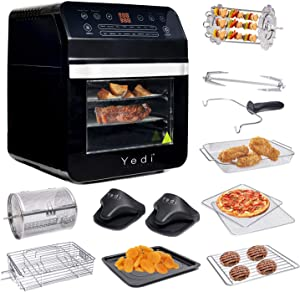 Yedi Total Package Air Fryer Oven XL, 12.7 Quart, Deluxe Accessory Kit, Recipes, BPA-Free, Auto Shutoff, Black