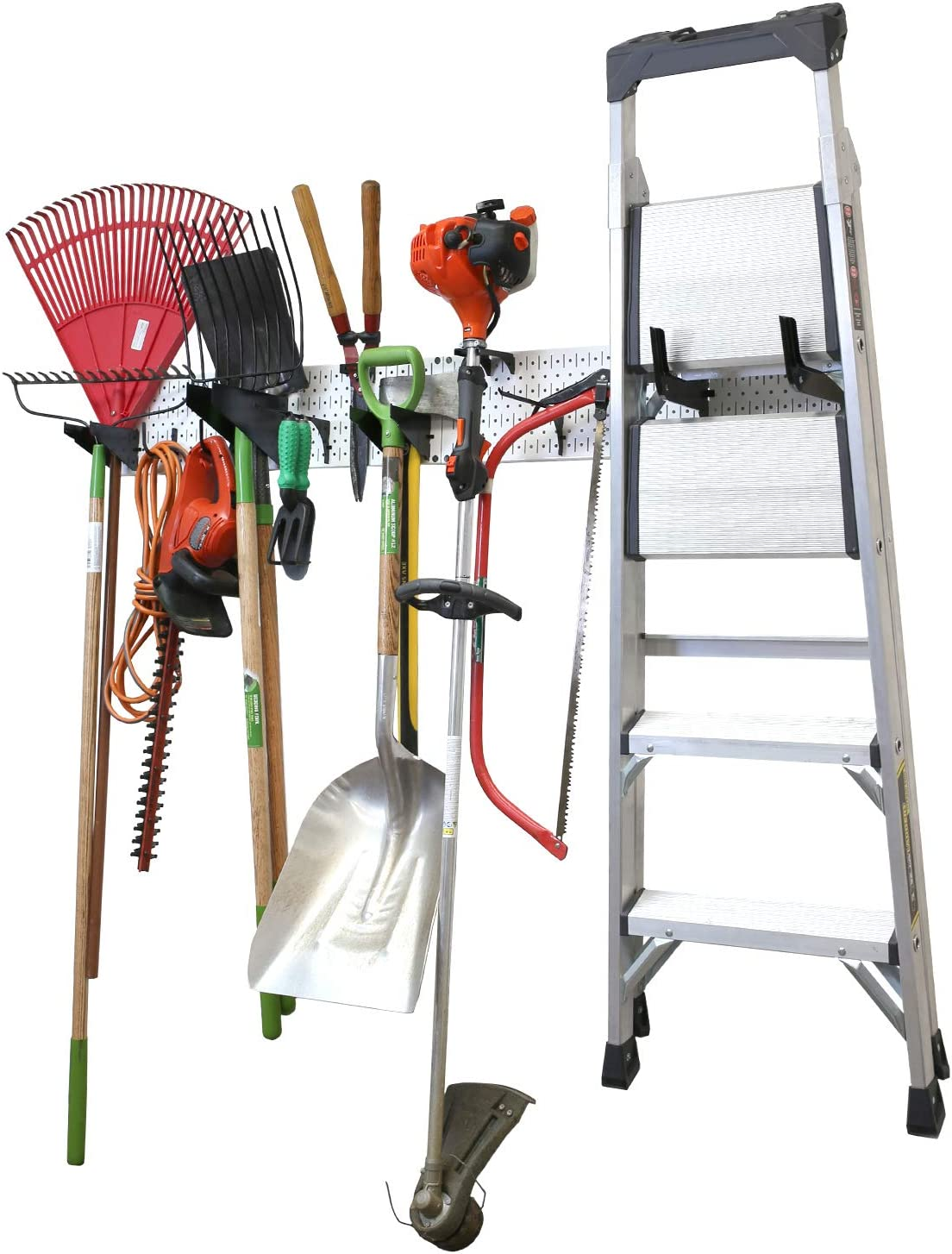 "Wall Control Garage Storage Rack Lawn & Garden Tool Organization Wall Mount Organizer - Easy to Install 64"" Wide Home & Garage Metal Peg Board Set (White Pegboard)"