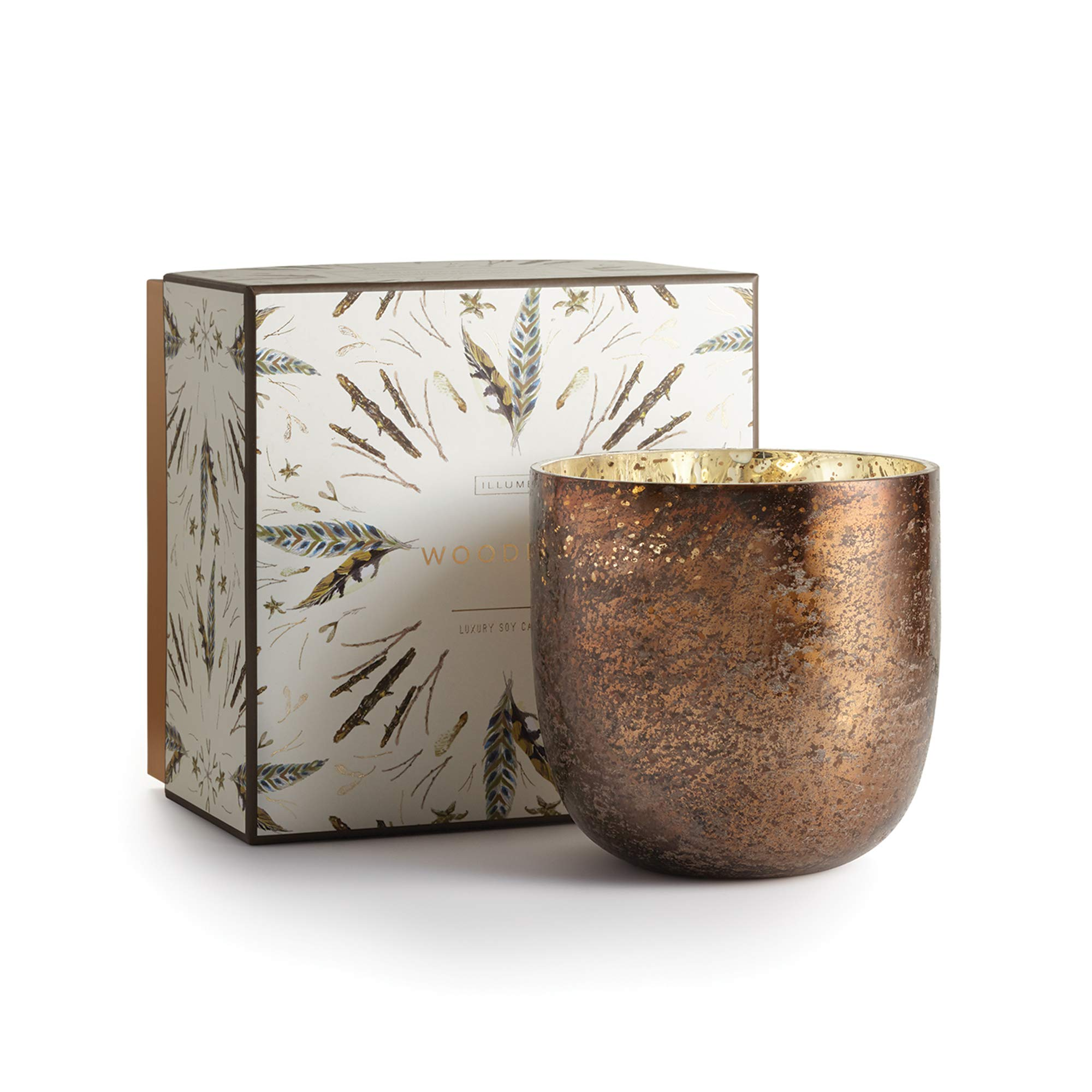 Illume Noble Holiday Collection Woodfire Luxe Box Sanded Mercury Glass, 22 oz Candle by Illume