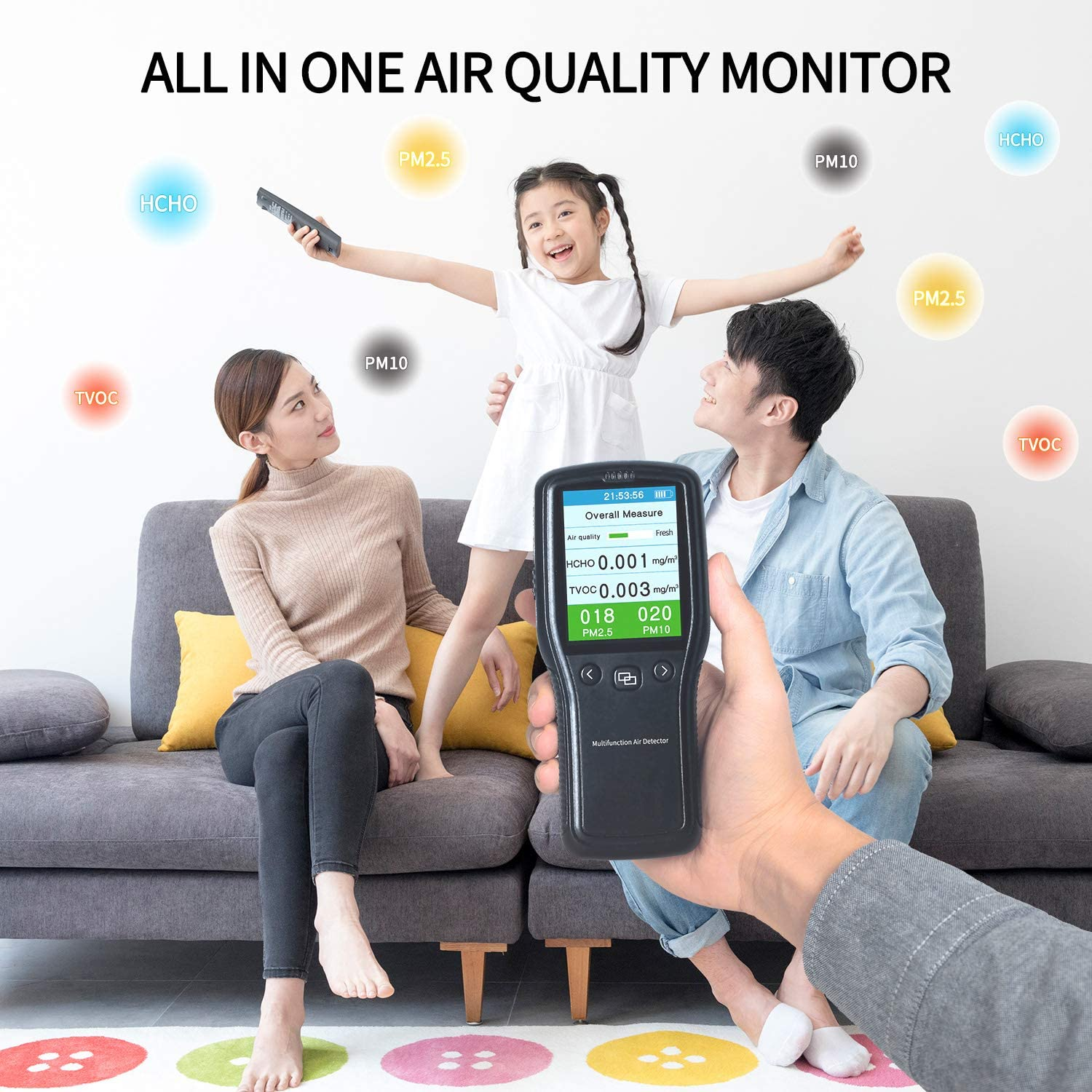 Multifunctional Air Quality Tester,Sherry Air Quality Monitor Indoor Formaldehyde Detector Air Quality Monitor Indoor for TVOC/ PM2.5,PM 10