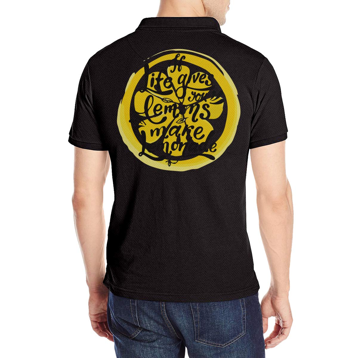 Wk74Lu@@ If Life Gives You Lemons Make Lemonade Mens Short Sleeve Polo Shirt Cotton Contrast Color Jersey Tees