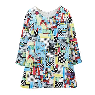 80961456f Honestyi Girls Dress Baby Printing Clothes Long Sleeve Outfits Lace ...