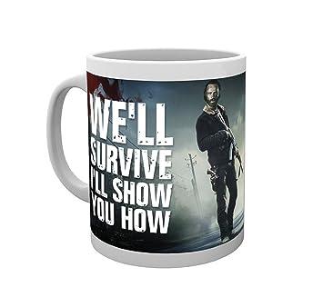 Taza The Walking Dead Rick Grimes sobrevivir oficial AMC caja de color blanco talla única: Amazon.es: Hogar