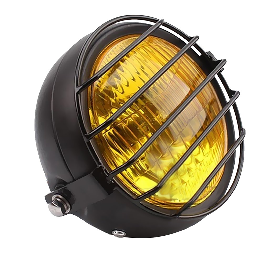 Sharplace Metal Retro Motorcycle Headlight Head Lamp w//Grill Cover for CG125 GN125 Yellow as described