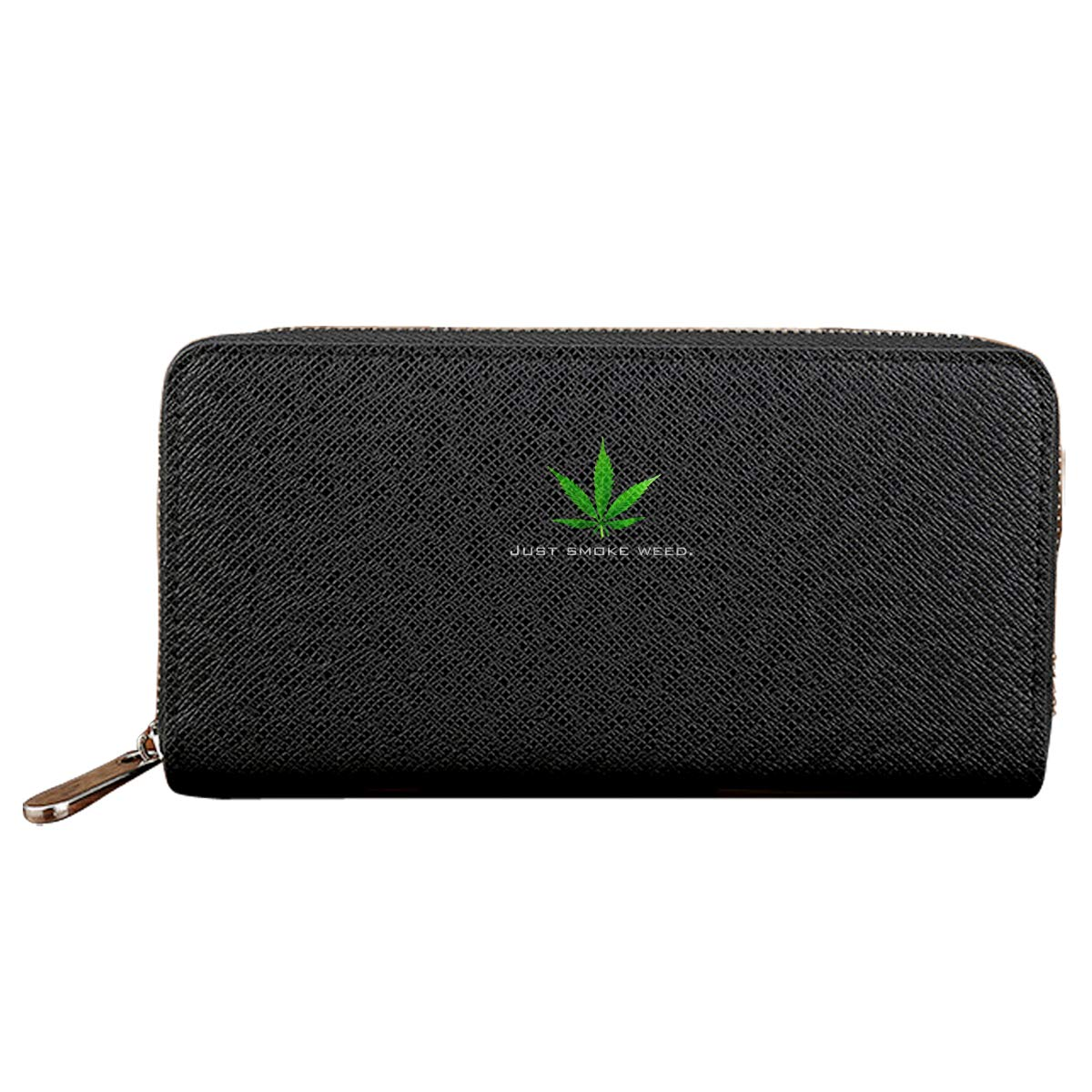 Just Smoke Weed Black Credit Card With Zipper Wallet Business Casual Hand Wallet