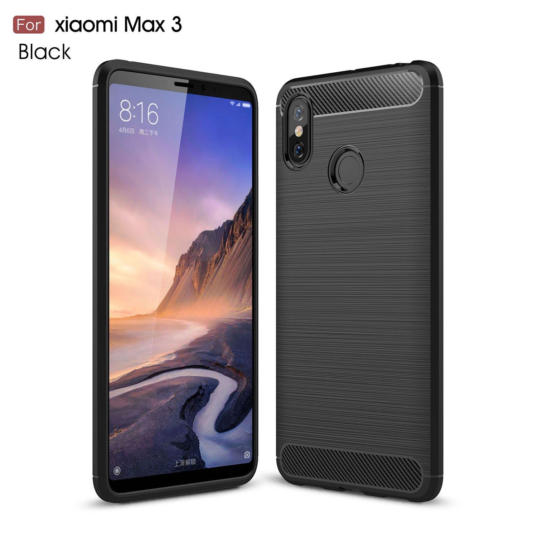 pretty nice 1594b e23b8 Xiaomi Mi Max 3 Case, TopACE Ultra Thin Carbon Fiber Scratch Resistant  Shock Absorption Soft TPU Protective Cover for Xiaomi Mi Max 3 (Black)