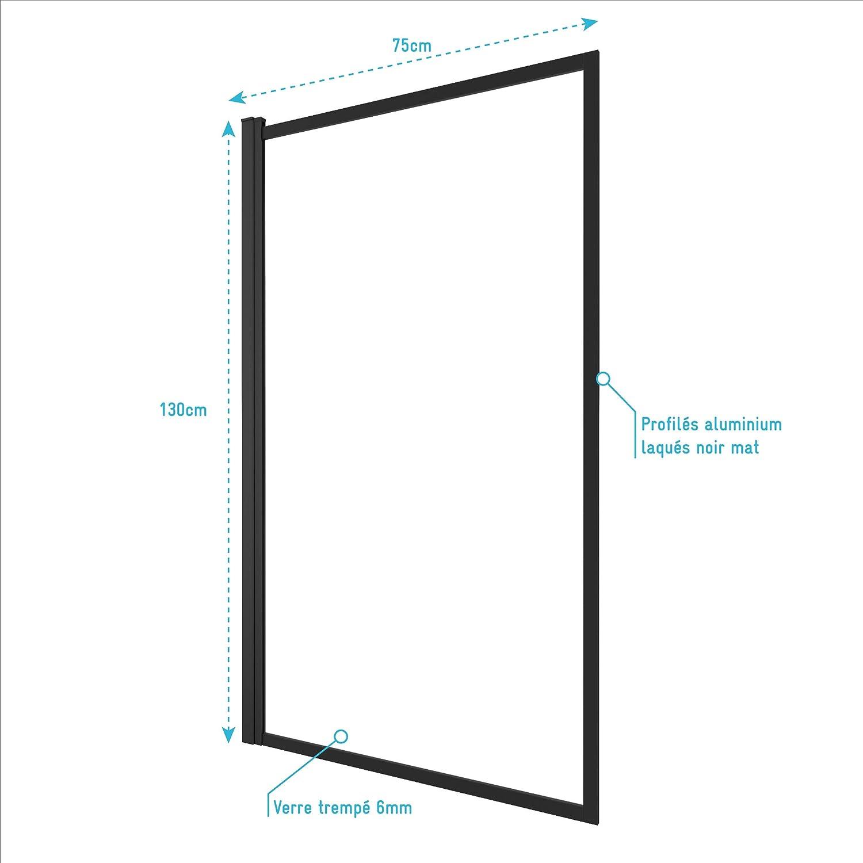 Verre Transparent 4mm dim: 130x75cm Aurlane Pare Baignoire pivotant Profiles Noir Mat Contouring