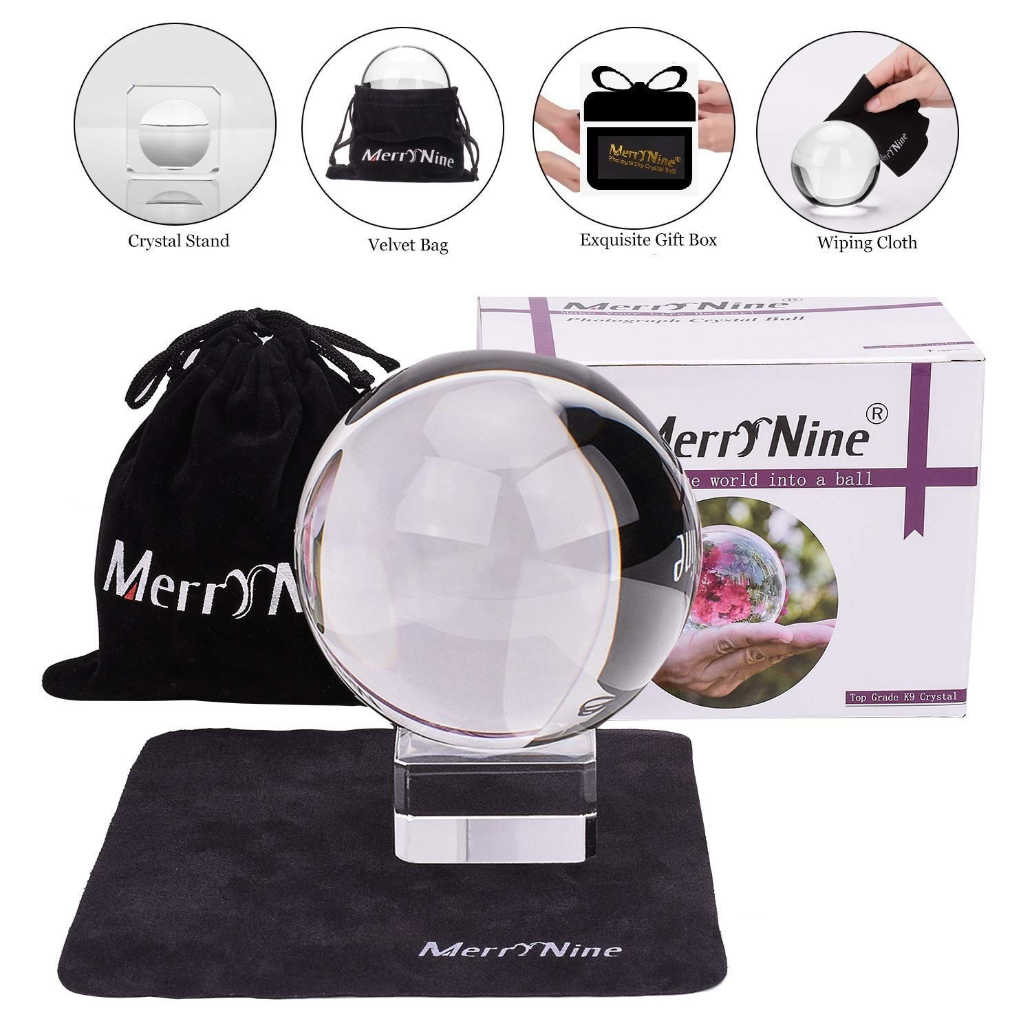 Photograph Crystal Ball with Stand and Pouch, K9 Crystal Suncatchers Ball  with Microfiber Pouch, Decorative and Photography Accessory (50mm/2