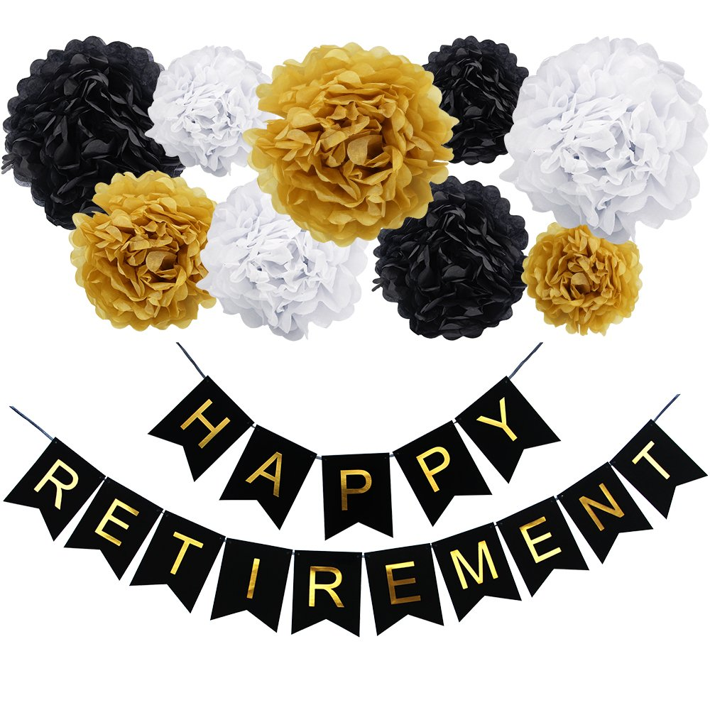 KUNGYO Congratulations Decorations kit-Congratulations Black Banner Shimmering Gold Letters ,9 Pcs Tissue Paper Pom Poms Flower Garland for Birthday,Retirement,Anniversary,Graduation Party