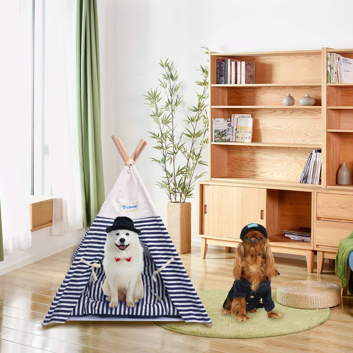 isYoung Pet Tent Bed, Pet Teepee House for Cats and Little Dogs Washable Navy Stripe Style with Breathable Mesh Window - Come with A Mat, Used All Year