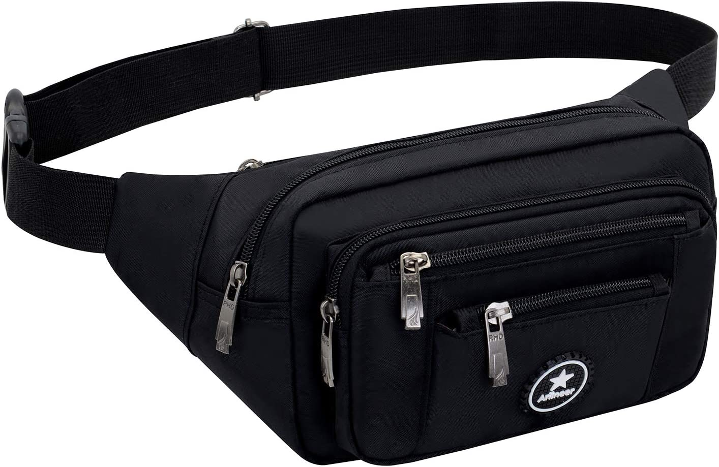 Black Is My Happy Color Sport Waist Bag Fanny Pack Adjustable For Hike