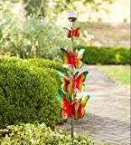 4-Tier Coloful Butterfly Solar LED Wind Spinner Outdoor Yard Garden Kinetic Art Sculpture 8 Dia. x 48 H