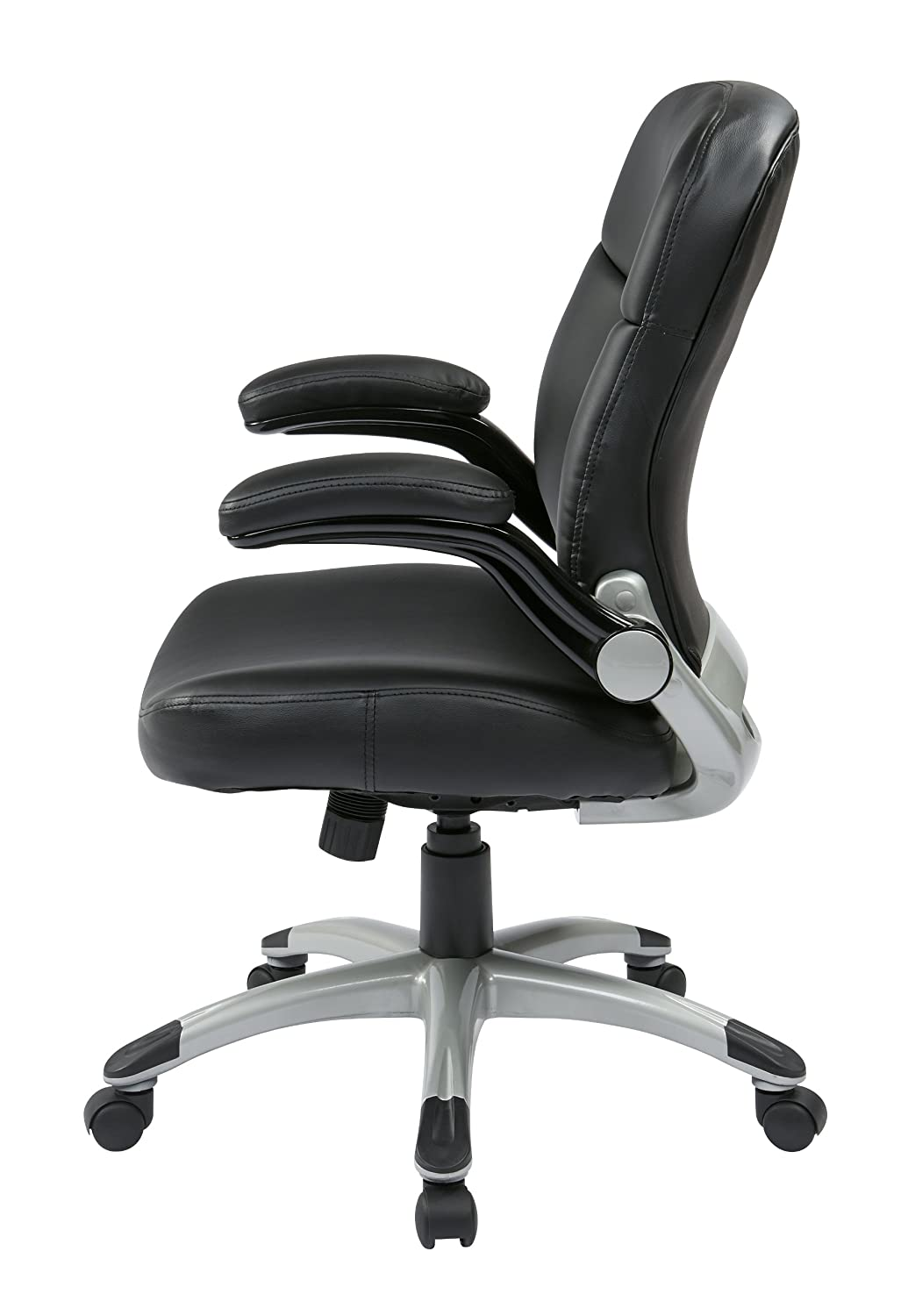 office star worksmart chair review. amazon.com: office star mid back bonded leather executives chair with padded flip arms and titanium coated accents, black: kitchen \u0026 dining worksmart review