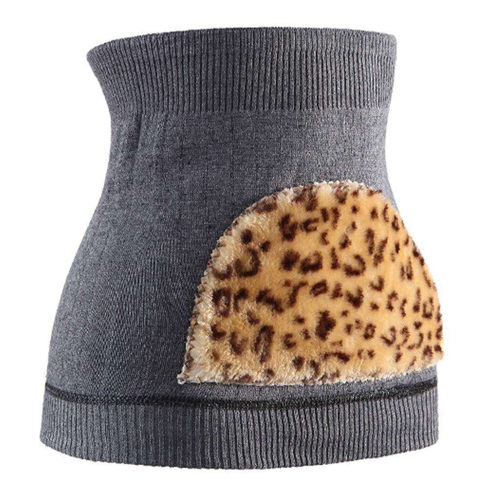 QAR Kaschmirgürtel warme Männer und Frauen warme Bauch Gürtel Schaffell Gürtel Taille Platte Gürtel (Farbe : Leopard Dark Gray)