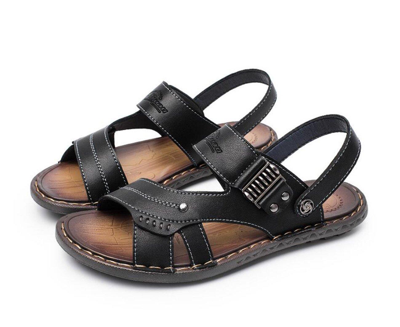 Sommer Flip Flops Herren Sandalen Leder Flip Flops Strand Hausschuhe Verschleißfeste Mode Schuhe Dual Use ( Color : Black   Größe : 40 ) Black