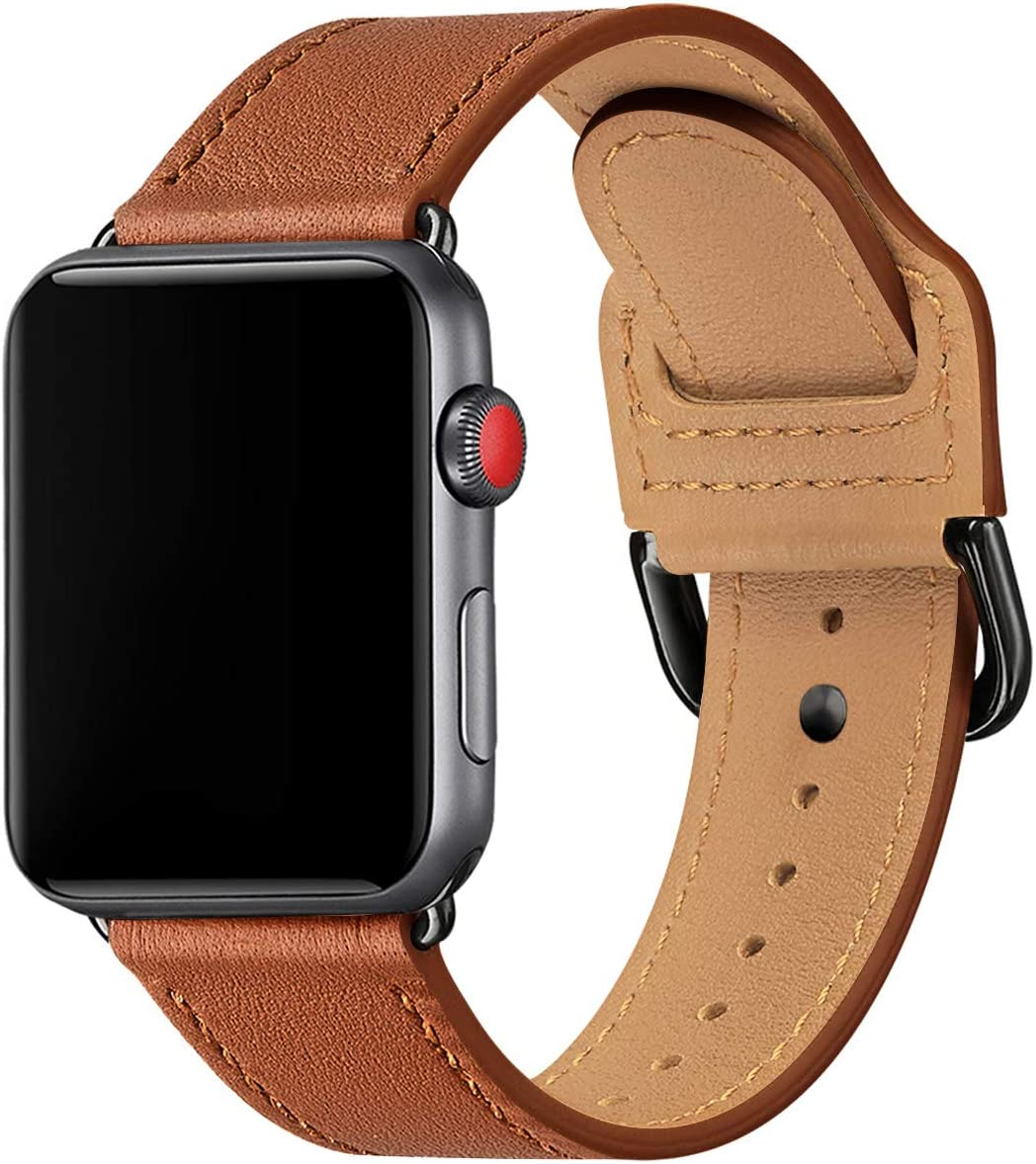 POWER PRIMACY Bands Compatible with Apple Watch Band 38mm 40mm 42mm 44mm, Top Grain Leather Smart Watch Strap Compatible for Men Women iWatch Series 6 5 4 3 2 1,SE (Brown/Black, 38mm/40mm)