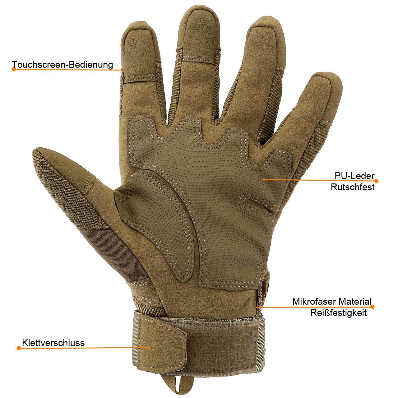 Sandfarbe, M ACBungji Voller Finger Handschuhe Motorradhandschuhe f/ür MTB Mountainbike Motorrad Motocross Quad Paintball Airsoft Security Tactical Milit/är KTM Fahrrad Rad Herren Damen Touchscreen