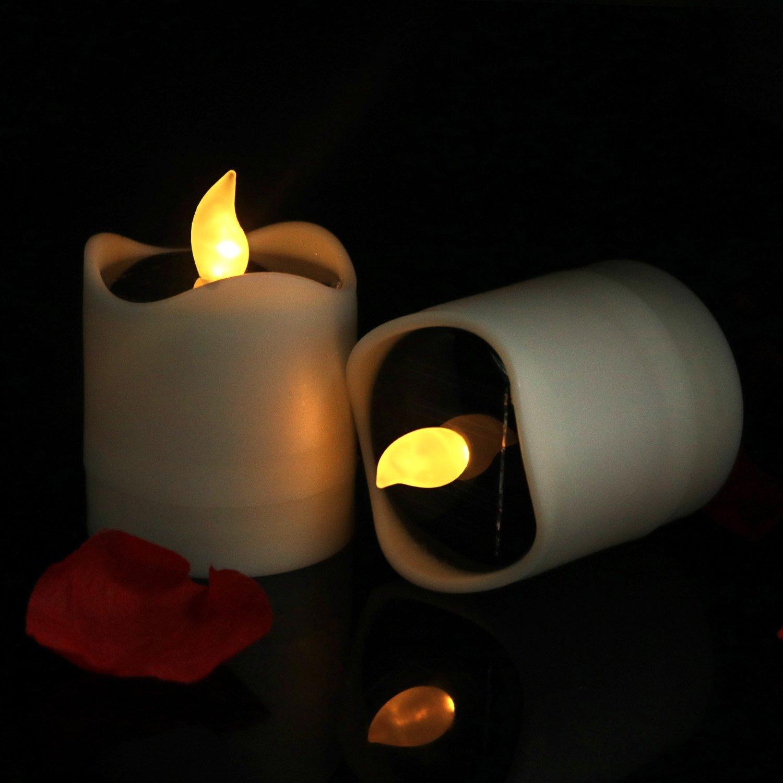 horeset 6個ソーラー電源ちらつきLED Flameless Candle、電池式防水Tealights結婚式、誕生日、パーティーのデコレーション、2.2 X 2.4インチsmoke-free、アウトドアハイキングキャンプ Solar 2011C_6_Black_xld B072J6Z956 18076 Black strips warm Flicker|6 Black strips warm Flicker