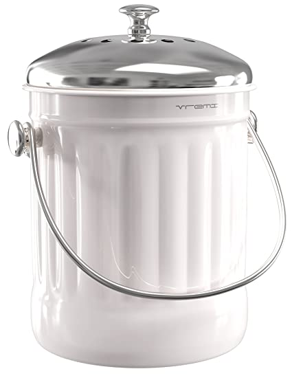 Vremi Kitchen Compost Bin For Counter Or Under Sink   1.2 Gallon Small  Metal Indoor Home
