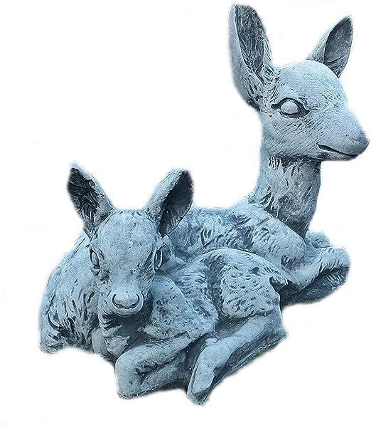 piedra Figura Jardín Figura Corzo con ciervos Animales Figura Jardín Decoración Jardín figuras figuras de piedra de piedra: Amazon.es: Jardín