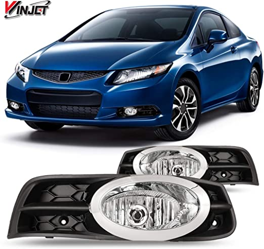 ACANII For 2012-2013 Honda Civic Coupe Bumper Driving Fog Lights Lamps w//Harness+Switch Assembly Driver /& Passenger