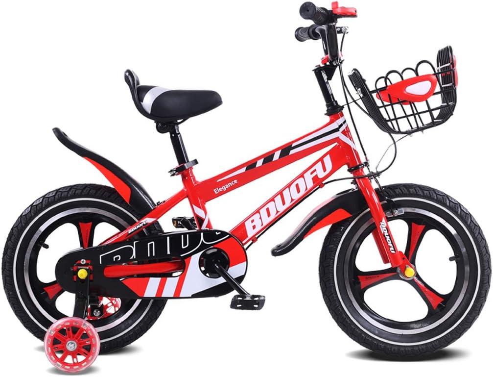 LXYFMS Bicicleta para niños 12/14/16 Pulgadas Cochecito de bebé 2-5-8 años de Edad Niño de Tres Ruedas Bicicleta de Pedal Rojo Bicicleta para niños (Size : 16 Inches)