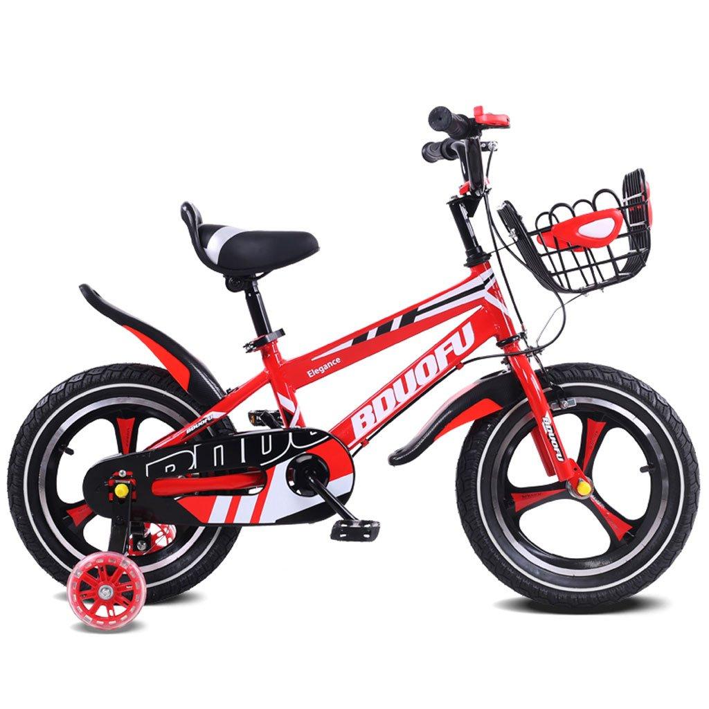 子供用自転車12/14/16インチベビーベビーカー2-5-8歳子供3輪ペダル自転車赤 ( Size : 14 inches ) B07DQNMLKC