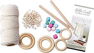 Macrame Kit for Adults Beginners | Cord Beads Wooden Rings | DIY Knitting Starter Set | 165 Yards 3mm Natural Cord 6Pcs Wood Ring 100Pcs Wooden Beads 10Pcs Colored Beads 2Pcs Sticks |Plant Hanger Kit