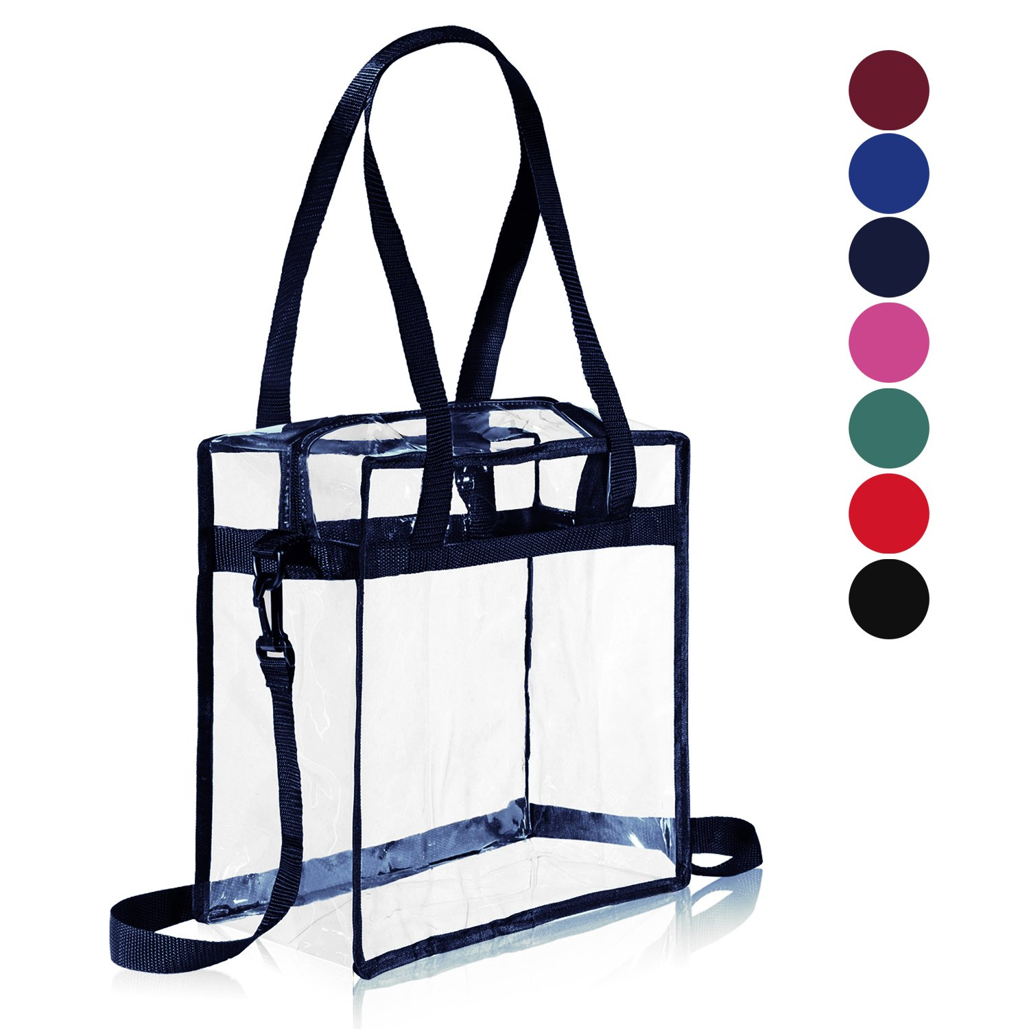 """Clear Bag NFL & PGA Stadium Approved - The clear tote bag with zipper closure is perfect for work, sports games.Cross-Body Messenger Shoulder Bag w Adjustable Strap -12"""" X 12"""" X 6"""" (Navy)"""