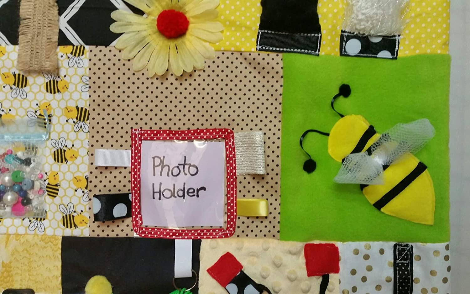 Size Memory Loss /& Alzheimers Blanket Dementia Toy with MY PHOTOS Picture Pocket 20 x 20 Fidget Quilt Handmade in the U.S.A