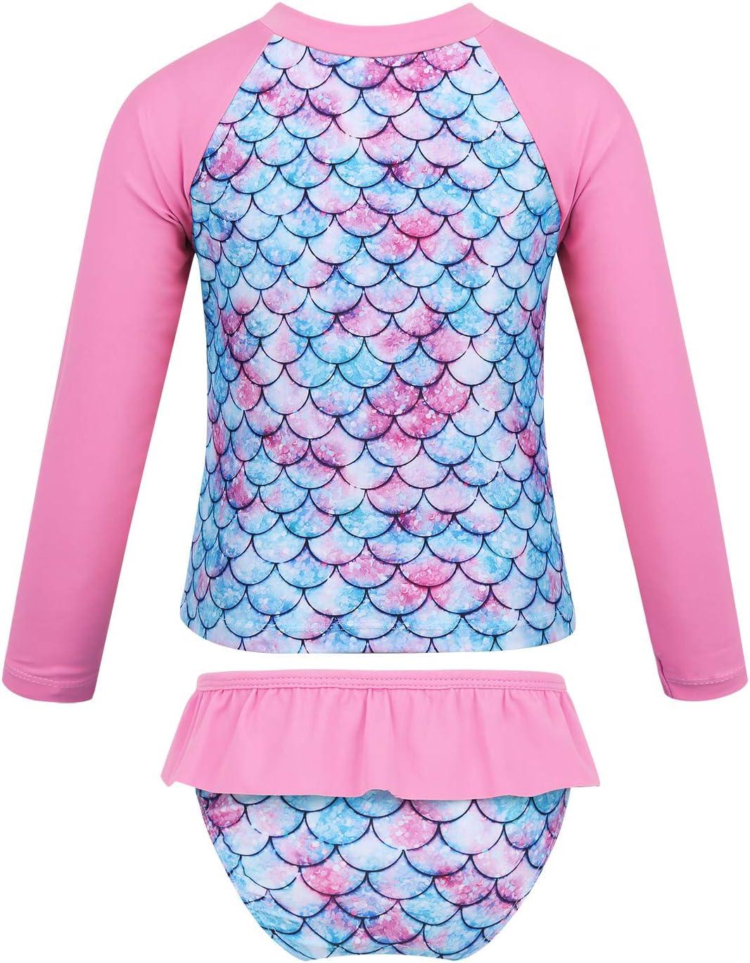 Rash Guard Set MSemis Kids Girls 2 Pieces Tankini Swimsuit Floral Print Long Sleeves Wetsuit Bathing Suit UPF 50