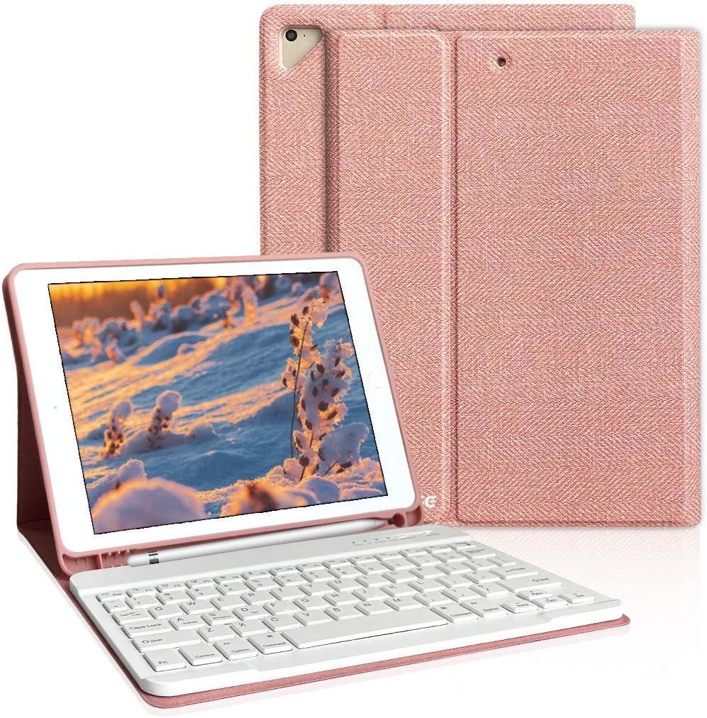 iPad Keyboard Case 9.7 for iPad 6th Generation(2018), iPad 5th Generation(2017), iPad Air 2, iPad Air, iPad Pro 9.7 inch Keyboard Case, Bluetooth Detachable Keyboard (Champagne)