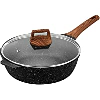 ESLITE LIFE Deep Frying Pan with Lid Nonstick Saute Pan with Granite Coating, 11 Inch (5Quart)