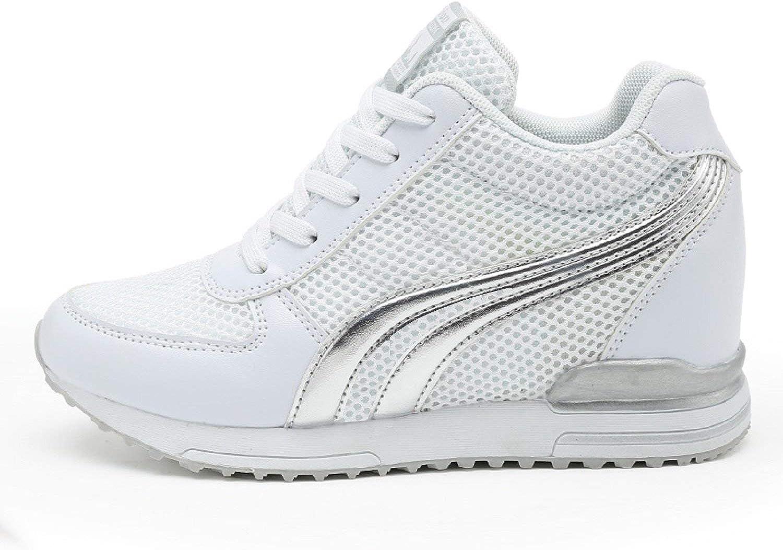 AONEGOLD® Zapatillas de Cuña para Mujer Zapatillas de Deporte Zapatillas Altas Primavera/Verano Tacón Cuña 7CM