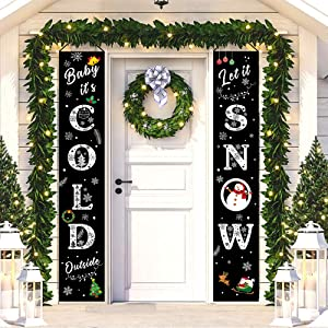 HMASYO Christmas Decorations Banner Indoor Outdoor - Baby It's Cold Outside Let It Snow Porch Signs Flags for Home Front Door Fireplace Wall Xmas Party Decor, 600D Oxford Fabric (Snow)