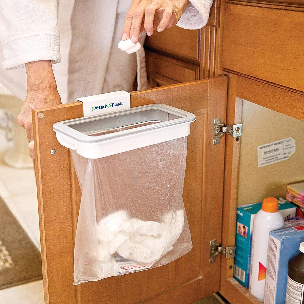 Attach to Trash Basket Holder for Bags Suspended Waste Bin with Clip Mount on any door, drawer or Door with Max Width of 15  mm drawer or Door with Max Width of 15 mm Attach-A-Trash